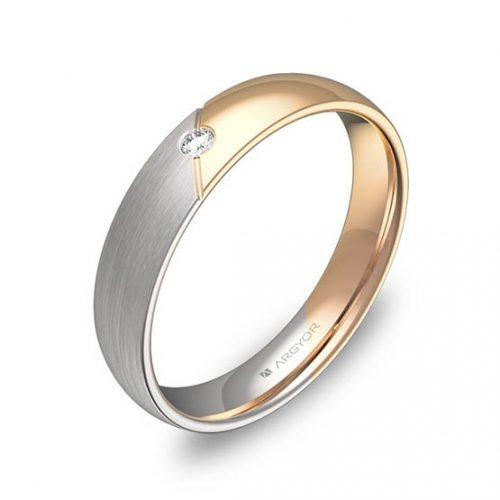 Alianza oro 18k bicolor diamante D3040C1BR