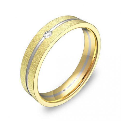 Alianza oro 18k bicolor diamante d2945h1ba