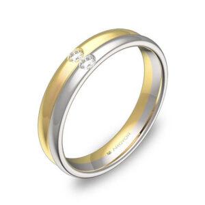 Alianza oro 18k bicolor diamantes D0940P2BA