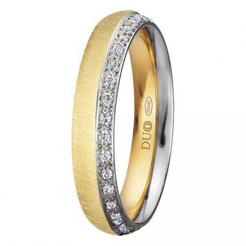 Alianza oro 18k bicolor diamantes PE-420