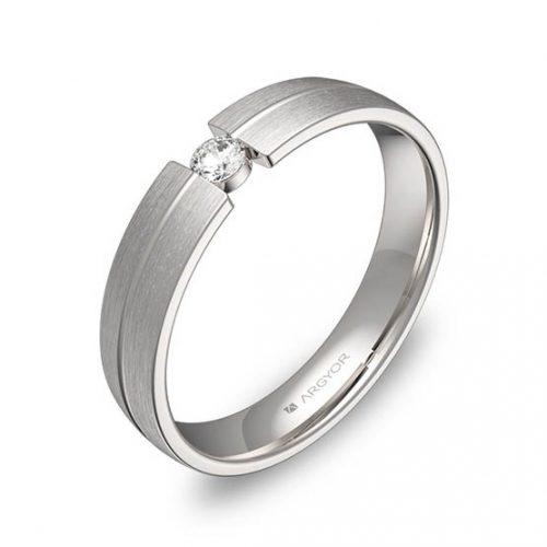 Alianza oro 18k blanco diamante C0440S1BB
