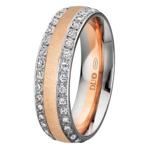Alianza oro 18k rosa y blanco diamantes 431-60-BRB-E-0-0