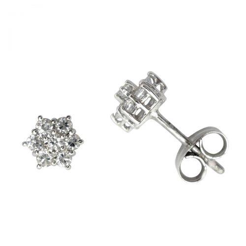 Pendientes diamantes roseta oro blanco 020215 Joyería Rincón