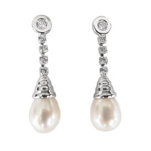 Pendientes oro blanco y perlas 23168 260