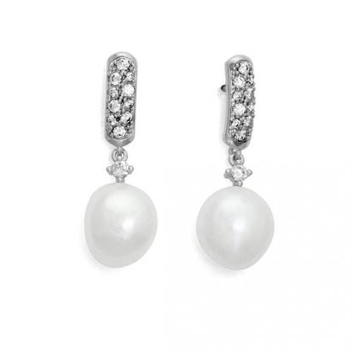 Pendientes plata perla Marina Garcia 9184PBB