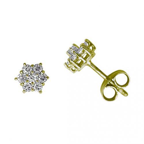 Pendiente diamantes orla oro 220