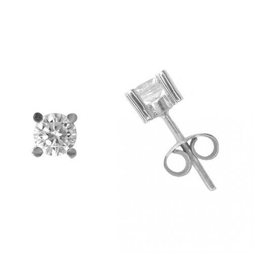 Pendientes diamante garras oro blanco 025123