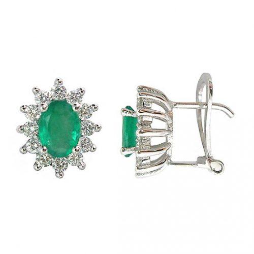 Pendientes diamantes y esmeraldas oro blanco 025972 Joyería Rincón