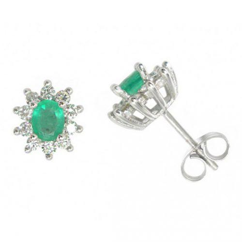 Pendientes diamantes y esmeraldas oro blanco 027518