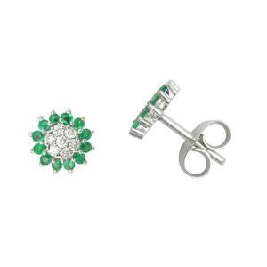 Pendientes diamantes y esmeraldas oro blanco 028024