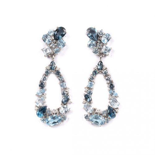 Pendientes diamantes y topacios azules 6663551p