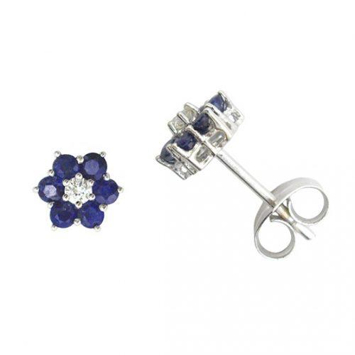 Pendientes diamantes y zafiros oro blanco 026686