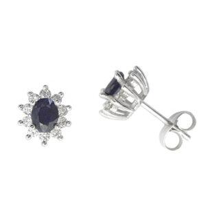 Pendientes diamantes y zafiros oro blanco 027626