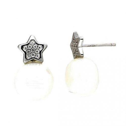 Pendientes perla oro blanco 136373 joyeria rincon