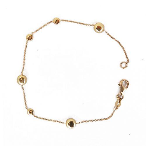 Pulsera oro amarillo adorno bolas 649-00011