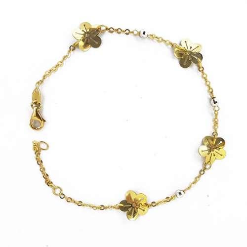 Pulsera oro amarillo con flores 65600013