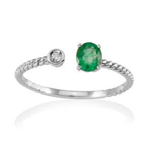 Anillo esmaralda diamante Joyeria Rincon A2346-E
