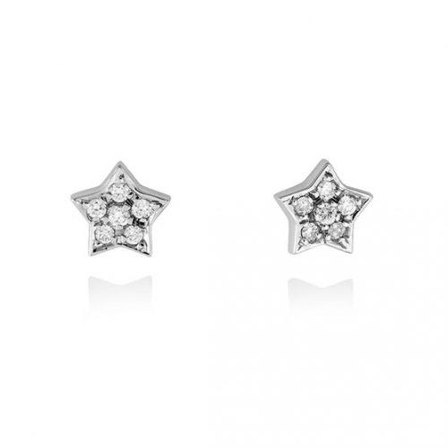 Pendientes diamantes estrella oro blanco A4719