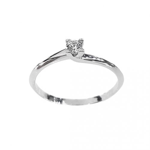Solitario anillo oro blanco circonita M-2123256B Joyeria Rincón