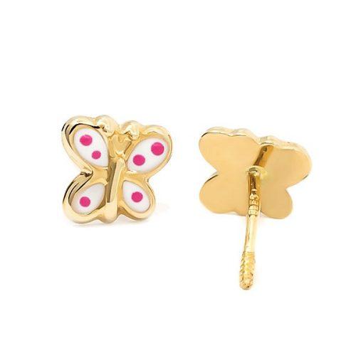 9AP91B-pendientes-eles-niña-oro-18k-mariposa-esmalte Joyería Rincón
