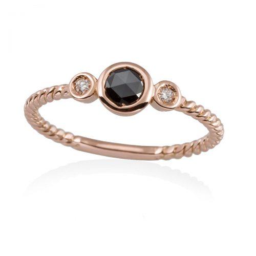 Anillo diamantes negro y blancos oro rosa A2312-P Joyeria Rincon