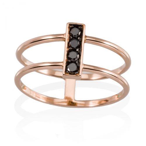 Anillo diamantes negros oro rosa A2320-P Joyeria Rincon