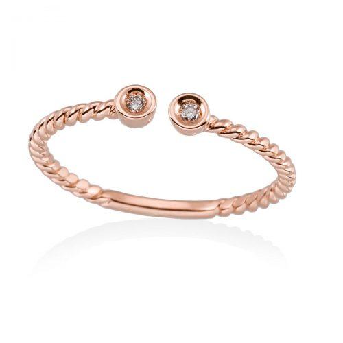 Anillo diamantes oro rosa A2348-P Joyeria Rincon