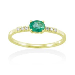 Anillo esmeralda y diamantes oro amarillo A2397SAE Joyería Rincón
