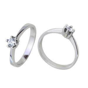 Anillo oro blanco diamante 19010 Joyería Rincón