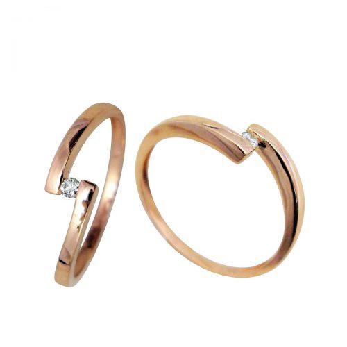 Anillo oro rosa diamante 018711 Joyería Rincón