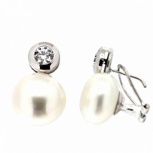 Pendiente perla y chaton oro blanco 210-1Ar Joyería Rincón
