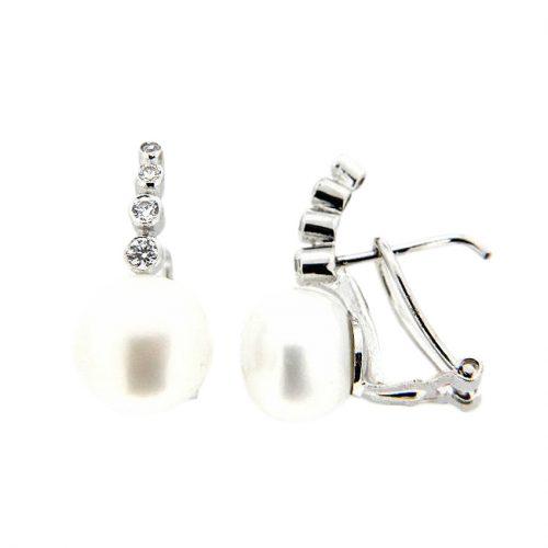 Pendiente oro blanco perla 29-11573-P Joyeria Rincon
