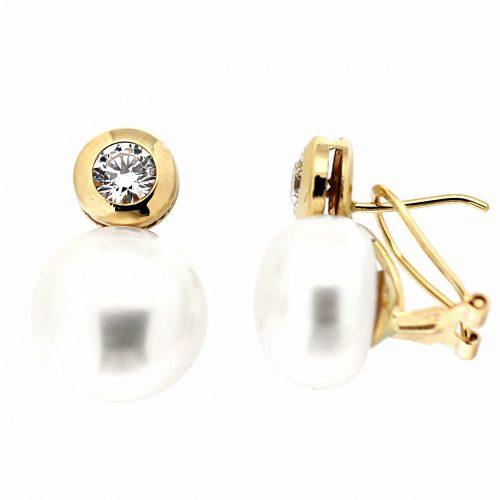 Pendiente oro perla chatón 56-5783-P Joyeria Rincon