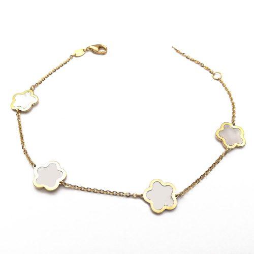 Pulsera oro nacar flores 447-0428 Joyeria Rincon