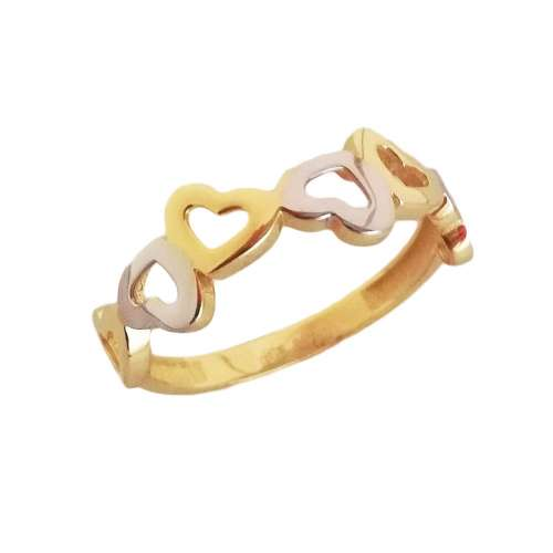 Anillo corazones 400-00435 oro Joyería Rincón