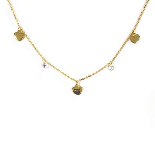 Gargantilla plata chapada corazones 1211 Joyería Rincón
