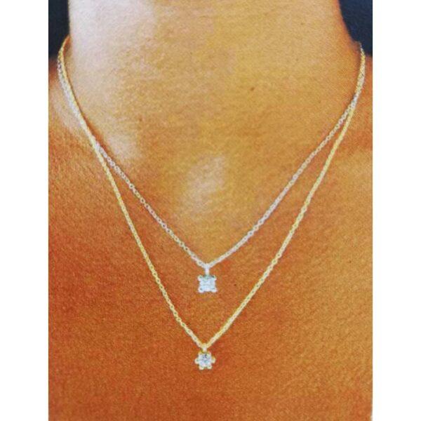 Colgante diamante garra oro blanco Joyería Rincón