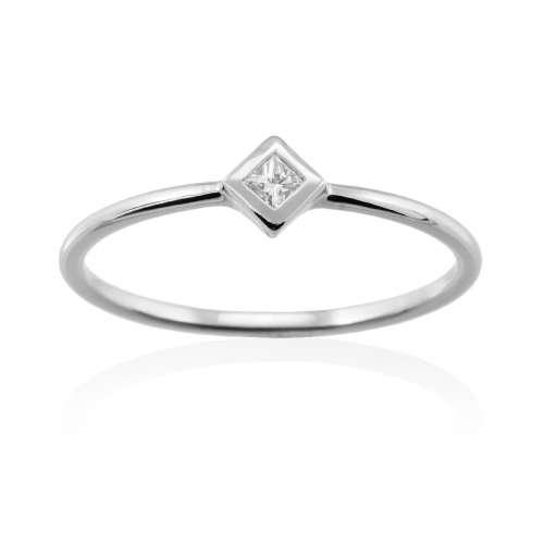 Anillo diamante oro blanco A2377S Joyería Rincón