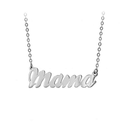 Colgante mama plata de ley 925mm con un baño de rodio, gargantilla con el nombre de MAMA, el nombre mide 32mm y la gargantilla tiene una longitud de 40cm.