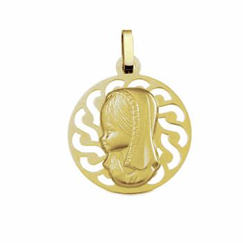 Medalla virgen niña comunión