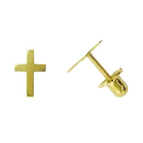 Pendiente segundo agujero oro cruz