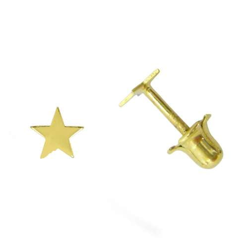 Pendiente segundo agujero oro estrella