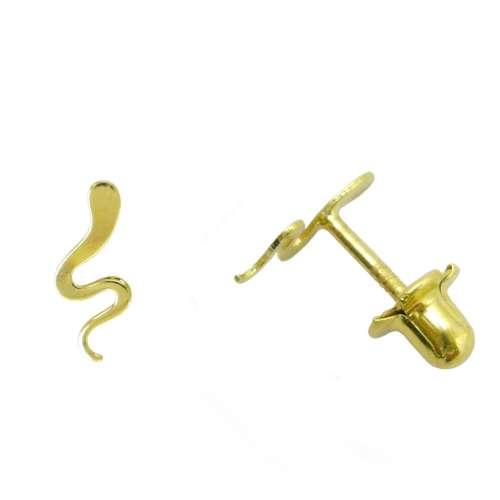 Pendiente segundo agujero oro serpiente