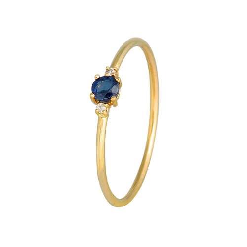 Anillo zafiro y diamantes oro Joyería Rincón