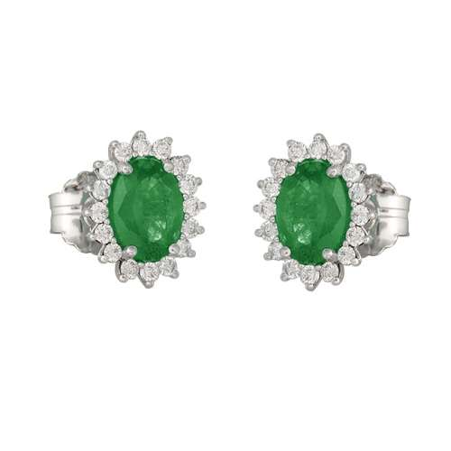 Pendientes esmeraldas y diamantes oro Joyería Rincón