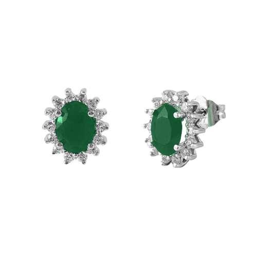 Pendientes diamantes y esmeraldas oro blanco 539817-1 Joyería Rincón