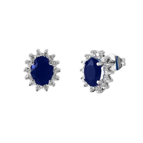 Pendientes diamantes y zafiros oro blanco 539817 Joyería Rincón