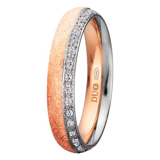 Alianza oro 18k bicolor diamantes 420-40-RB-D-0-0